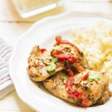 Strips of chicken  and whole-grain mustard